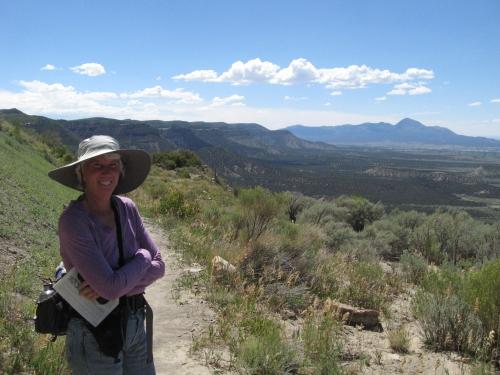 Tammi on Knife's Edge trail mesa verde 2014